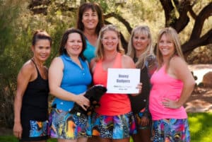 Photo of the Roseville Honey Badgers Women's Tennis Team in BPassionit Activewear Urban Collection tops and tennis skirts.