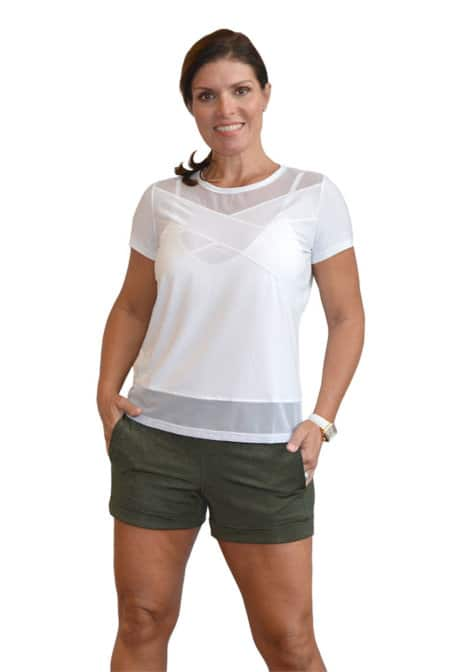 BPassionit-Model-in-Heather-Olive-Shorts-and-White-Top-WEB