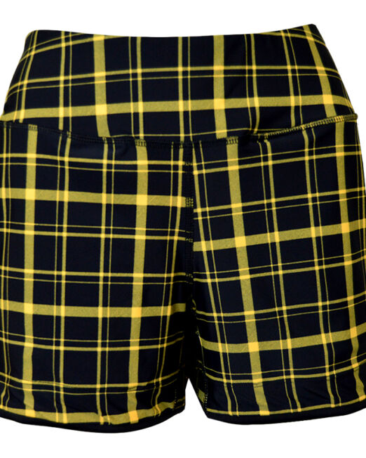 BPassionit-Womens-Piped-Hem-Tennis-Shorts-Black-Yellow-Plaid-Front-WEB