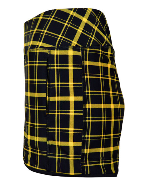 BPassionit-Womens-Piped-Hem-Tennis-Shorts-Black-Yellow-Plaid-Side-WEB
