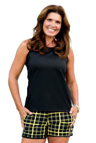 BPassionit-Model-in-Black-with-Yellow-Plaid-Tennis-Shorts-Tank-Back-Outfit-2-WEB