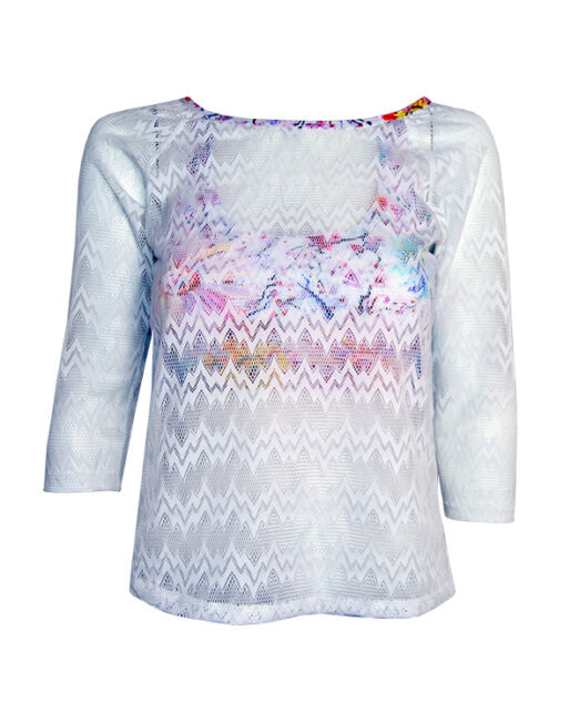 BPassionit-Womens-3-4-Sleeve-Top-White-with-Daisies-Print-Seismic-Lace-WEB